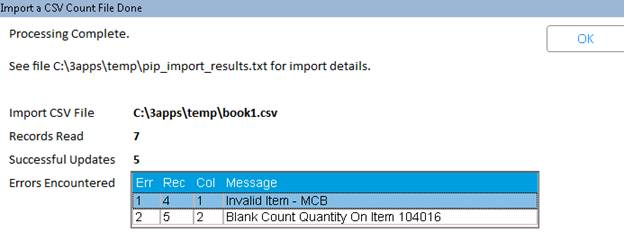 Adding Items to the Count File via PIP Import